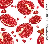 the pattern of pomegranates  ... | Shutterstock .eps vector #1010185795
