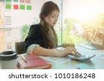 young asian business woman... | Shutterstock . vector #1010186248
