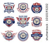 volleyball emblems on white... | Shutterstock .eps vector #1010193202