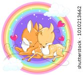 cute baby deers  with rainbow... | Shutterstock .eps vector #1010213662