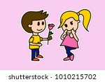 boy gives flower rose to a... | Shutterstock .eps vector #1010215702