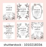 wedding invitation cards with... | Shutterstock .eps vector #1010218336