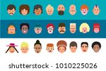 colorful people faces . males... | Shutterstock .eps vector #1010225026