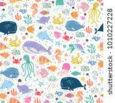 sea life cute vector pattern.... | Shutterstock .eps vector #1010227228
