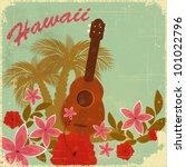 vintage hawaiian postcard  ... | Shutterstock .eps vector #101022796