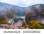 beautiful waterfall autumn in ... | Shutterstock . vector #1010228032