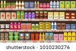 supermarket  shelves with... | Shutterstock .eps vector #1010230276