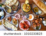 indian dinner feast   flay lay... | Shutterstock . vector #1010233825