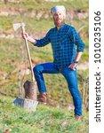 young lumberjack with beard... | Shutterstock . vector #1010235106