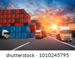 logistics and transportation of ...   Shutterstock . vector #1010245795