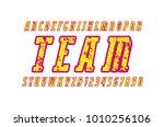 italic narrow serif font with... | Shutterstock .eps vector #1010256106