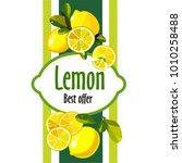 green label with lemon. | Shutterstock .eps vector #1010258488