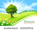 tree with graphic wave and... | Shutterstock .eps vector #101025916