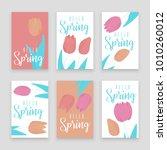 tulip pink  red and orange... | Shutterstock .eps vector #1010260012