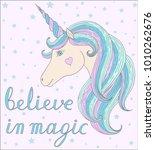 unicorn head wiht quote believe ...   Shutterstock .eps vector #1010262676