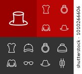wear icons set with bowler ...   Shutterstock .eps vector #1010266606