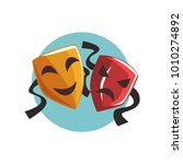 comedy and tragedy theatrical... | Shutterstock .eps vector #1010274892
