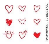 red heart doodles | Shutterstock .eps vector #1010281732
