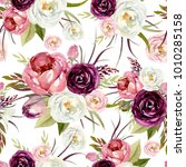 seamless watercolor floral... | Shutterstock . vector #1010285158