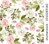 seamless watercolor floral... | Shutterstock . vector #1010285182