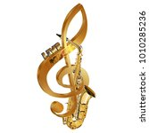 treble clef saxophone live... | Shutterstock .eps vector #1010285236