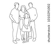 sketch of family with children | Shutterstock .eps vector #1010291002