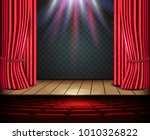 a theater stage with a red...   Shutterstock .eps vector #1010326822
