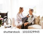 health visitor and a senior... | Shutterstock . vector #1010329945