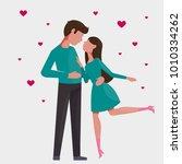 couple in love. stylized vector ... | Shutterstock .eps vector #1010334262