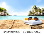 desk of free space for your... | Shutterstock . vector #1010337262