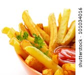 french fries with ketchup over... | Shutterstock . vector #101034016