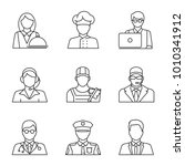 professions linear icons set.... | Shutterstock . vector #1010341912