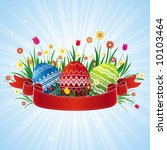 easter eggs with red ribbon ...   Shutterstock .eps vector #10103464