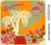 vintage hawaiian postcard  ... | Shutterstock .eps vector #101035216
