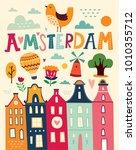 amsterdam illustration in... | Shutterstock .eps vector #1010355712