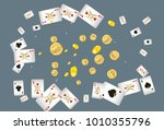 casino playing cards and money... | Shutterstock .eps vector #1010355796