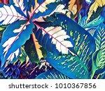 tropical leaf bright digital... | Shutterstock . vector #1010367856
