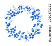 floral embroidery wreath with... | Shutterstock .eps vector #1010372212