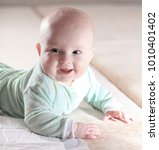 portrait of a cute three month... | Shutterstock . vector #1010401402