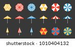 beach umbrella set  side and... | Shutterstock .eps vector #1010404132