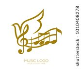 music logo. treble clef and... | Shutterstock .eps vector #1010408278