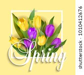 spring text with tulip flower.... | Shutterstock .eps vector #1010412676