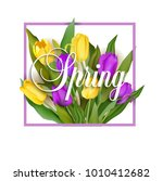 spring text with tulip flower.... | Shutterstock .eps vector #1010412682