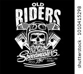 vector skull rider race print  | Shutterstock .eps vector #1010415298