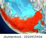 russia from orbit of planet... | Shutterstock . vector #1010415436
