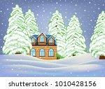 hand drawn wooden suburban... | Shutterstock .eps vector #1010428156