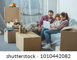 family with one child using... | Shutterstock . vector #1010442082