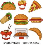 fast food icons set. cartoon... | Shutterstock .eps vector #1010455852