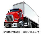 cartoon semi truck isolated on... | Shutterstock .eps vector #1010461675