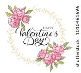 happy valentines day card with... | Shutterstock .eps vector #1010461696
